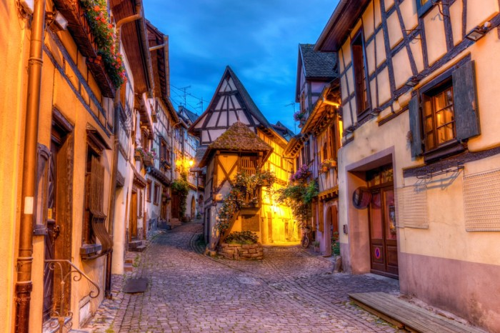 Rempart-sud street in Eguisheim by night, Alsace, France