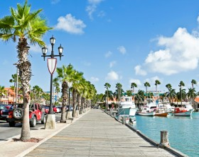 Harbor on Aruba island  in the Caribbic sea
