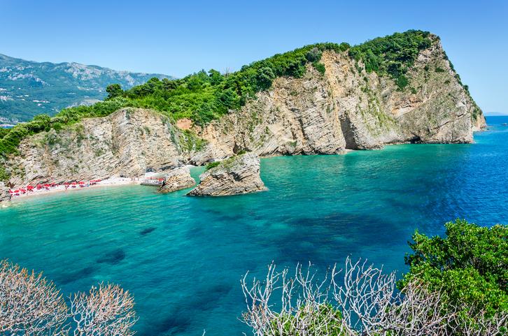 Island of Saint Nicholas in Adriatic Sea. Sveti Nikola in coast of Budva, Montenegro
