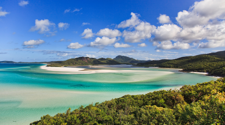 paradise like tropical exotic island with white sandy whiteheaven beach in Whitsunday group of Coral Sea near Queensland, Australia