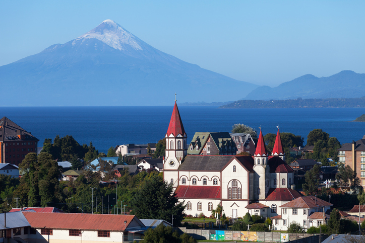 Puerto Varas city and volcano Osorno, Patagonia, Chile