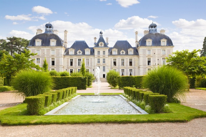 """""""Cheverny, France - July 29, 2009: Panoramic of Cheverny Chateau. View from apprentice's garden in a summer day. Wide angle"""""""