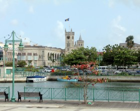 A glimpse of the Parliament Building in downtown Bridgetown, the capital of the Barbados.