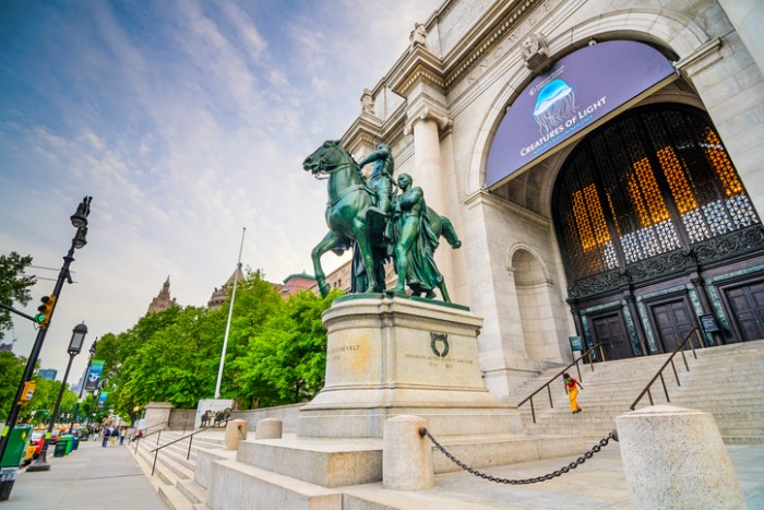 New York City, USA - May 13, 2012: The equestrian statue of Theodore Roosevelt at the American Museum of Natural History in Manhattan. The museum collections contain over 32 million specimens.