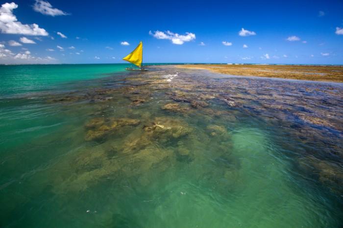 Porto de Galinhas, Pernambuco - Brazil. Brazilian beach in sunny day