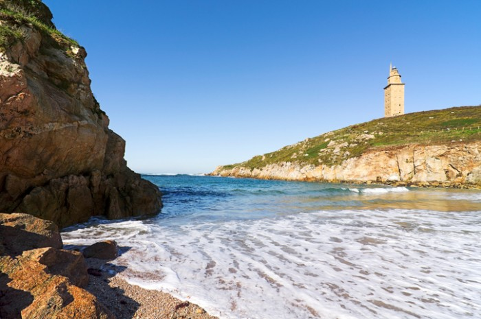 Hercules tower  beach, Torre de Hercules, roman liighthouse , UNESCO world heritageHercules tower, Torre de Hercules, roman liighthouse , UNESCO world heritage
