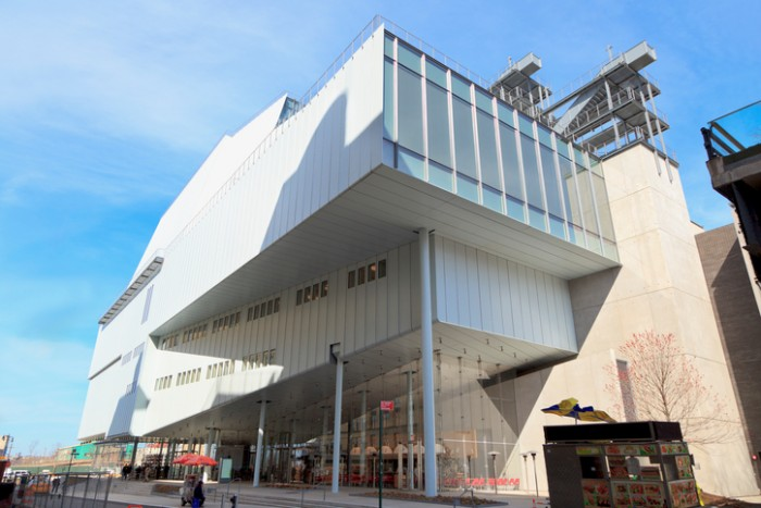New York, NY, USA - March 22, 2016: View of the new Whitney museum. The new museum, a six-story, asymmetrical building designed by Renzo Piano, will house more of the museums 18,000-piece permanent collection.