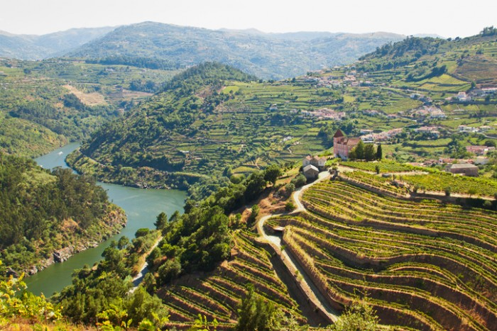 Image captured from the road some kilometers to the west of Oporto, the image shows the river Douro and his vinyards.