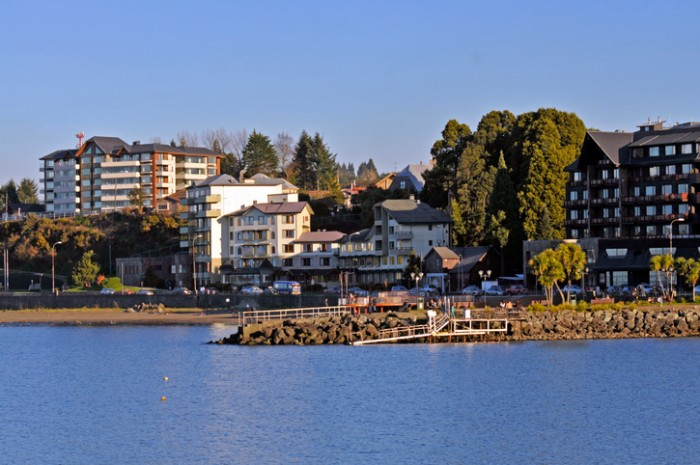 Puerto Varas, waterfront of the city, from the lake Llanquihue