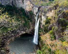 Salto waterfall in the Preto river in Chapada dos Veadeiros National Park, Goiás State, Brazil