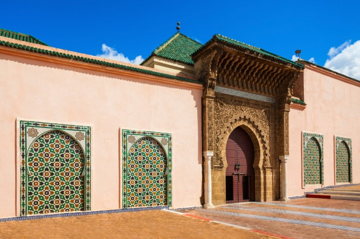 The Mausoleum of Moulay Ismail in Meknes in Morocco. Mausoleum of Moulay Ismail is a tomb and mosque located in the Morocco city of Meknes.