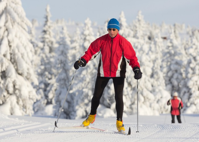 """Cross country skier on the Birkebeiner Trail near Lillehammer, Norway"""