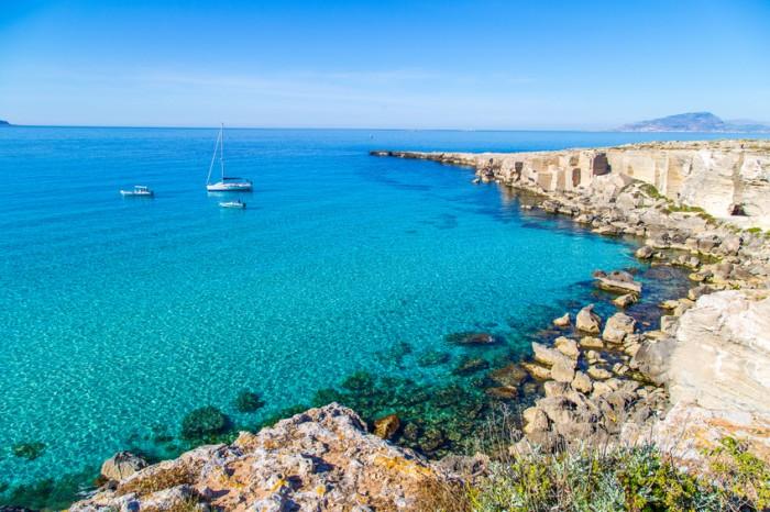 Lagoon on Favignana island (Egadi islands, Sicily, Italy)