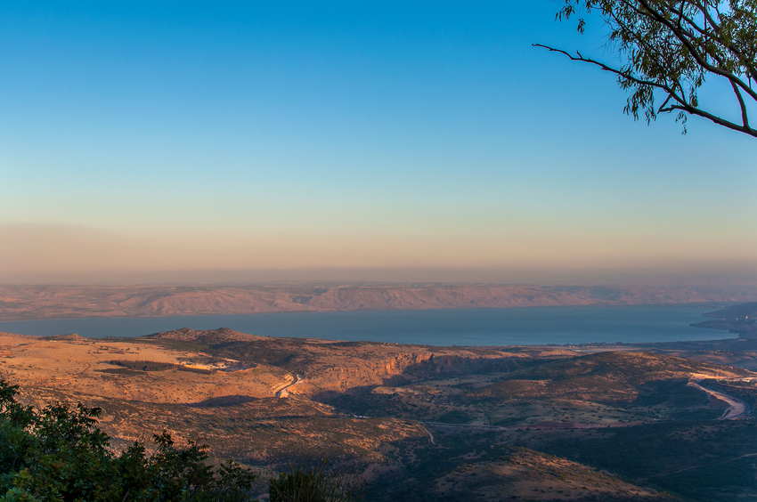 View on Sea of Galilee in the late afternoon, seen from Amirim.