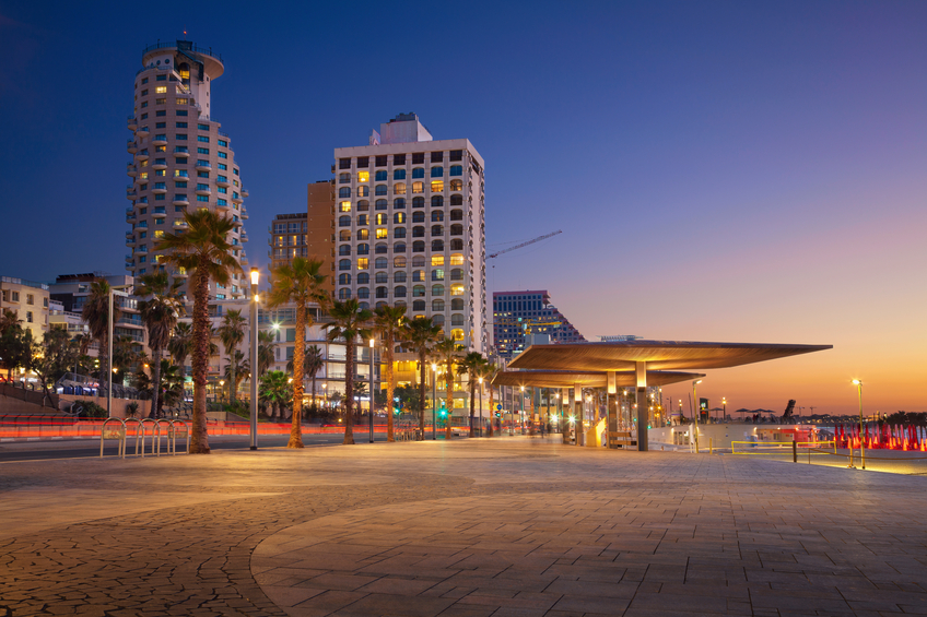 Image of Tel Aviv, Israel during sunset.