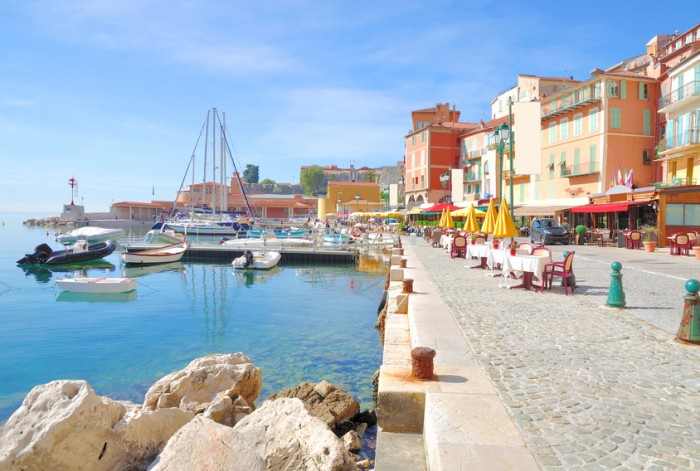 Harbor of Villefranche sur Mer at french Riviera,Cote d `Azur near Cannes and Nizza,South of France