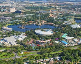 """Orlando, USA - November 13, 2007: Aerial view of the Sea World  Orlando - one of seventh-most visited amusement park in the United States - situated on intersection of Interstate 4 and FL 528 (Bee Line Expressway)"""