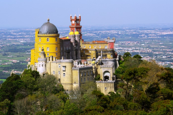 Aerial view of the Pena Palace in Sintra National Park, Portugal