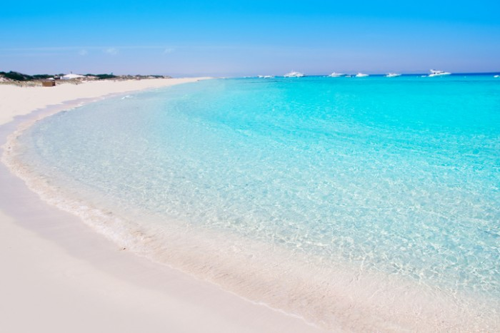Illetes Formentera East tanga beach with tropical turquoise Mediterranean sea