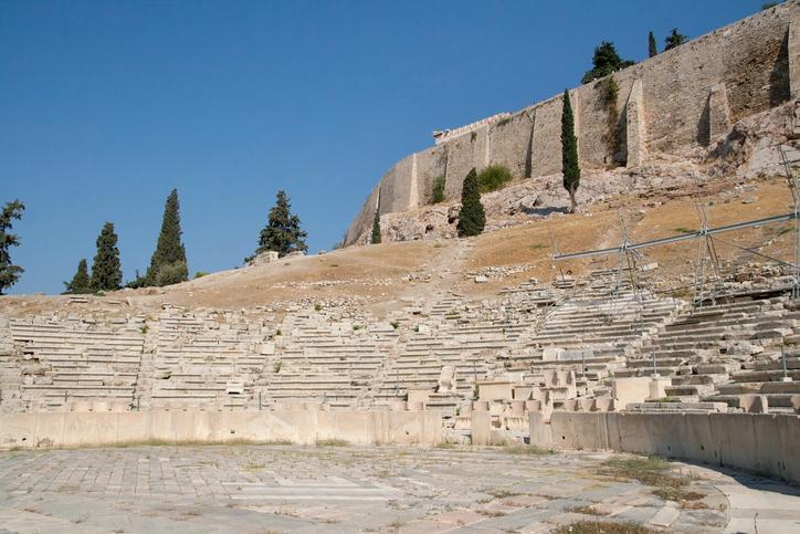 Theatre of Dionysus Eleuthereus in the Acropolis of Athens, Greece.