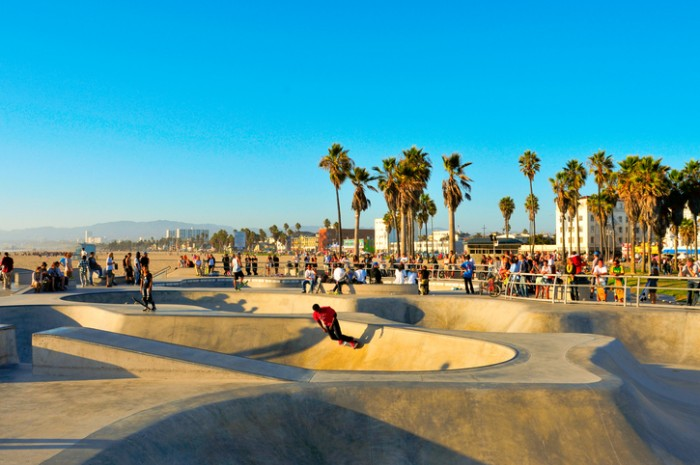 """Venice, US - October 17, 2011: Skatepark of Venice Beach in Venice, US. This skatepark, with pool, ramps, stair set and flow bowls, celebrated its second anniversary on October 3, 2011"""
