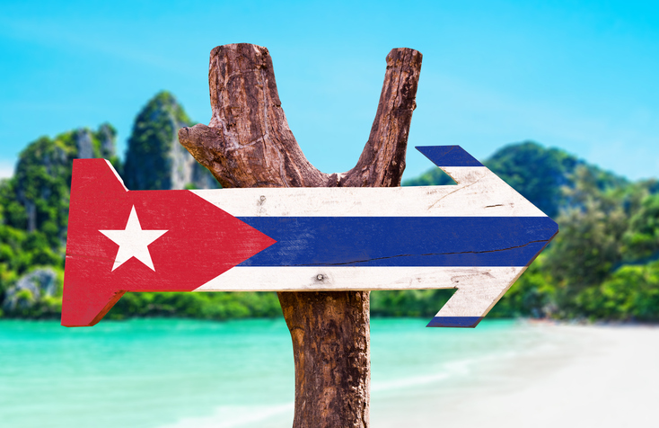 Cuba Flag wooden sign with beach background