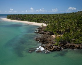 Aerial view of Morer? Beach, in Boipeba Island, Bahia, Brazil Coast