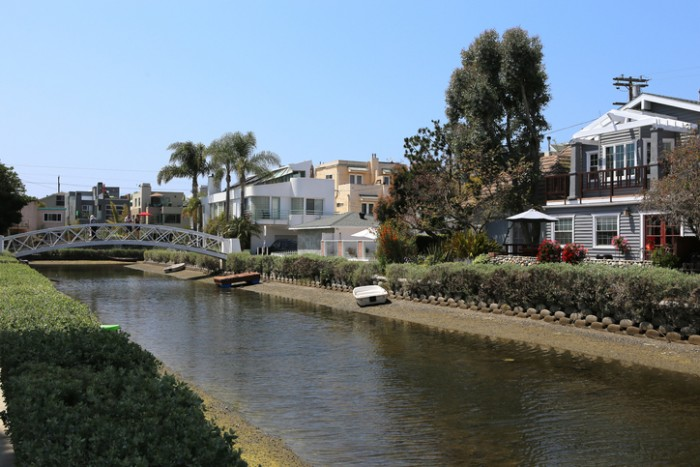 venice beach, ca, united states - April 14, 2015: Venice beach canal district and houses, in Los angeles, california, united states