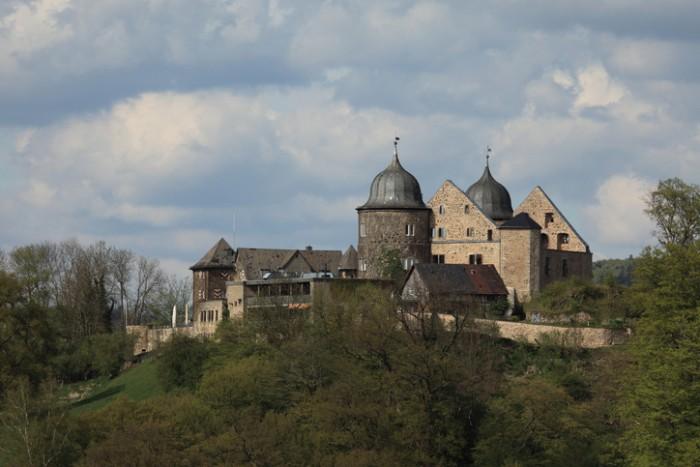 Hofgeismar, Hesse, Germany - May 1, 2015: The towers of the Sleeping Beauty Castle Sababurg in Germany