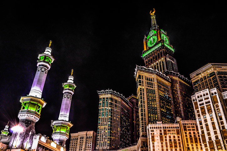 one of the highest towers in the world , including the biggest clock in world too, this place calls Mekkah , the greatest city in the whole wolrd.