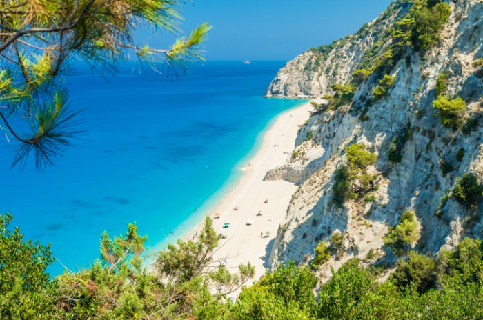 Large and long beach with turquoise water on the island of Lefkada in Greece