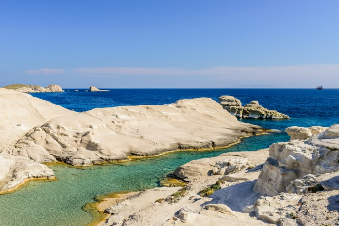 Sarakiniko beach, Milos island, Cyclades, Greece.