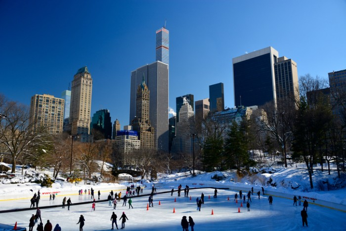 New York, USA - March 6, 2015: central park, manhattan, New York on a sunny winter day with people walking