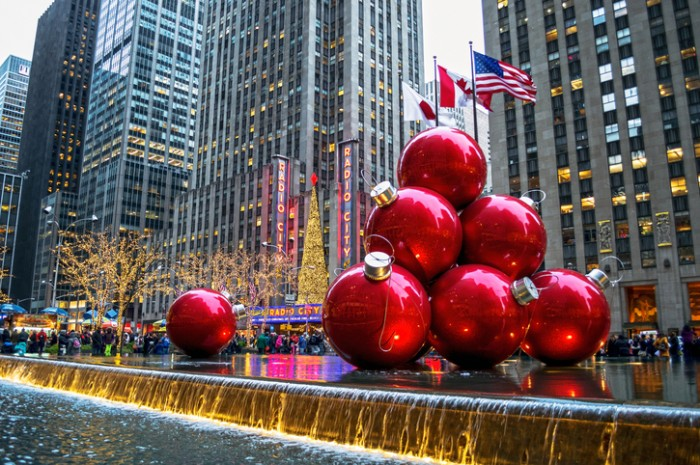 New York, NY, USA - December 30, 2013: Holiday decorations near Radio City Music Hall on December 30, 2013 in Manhattan.
