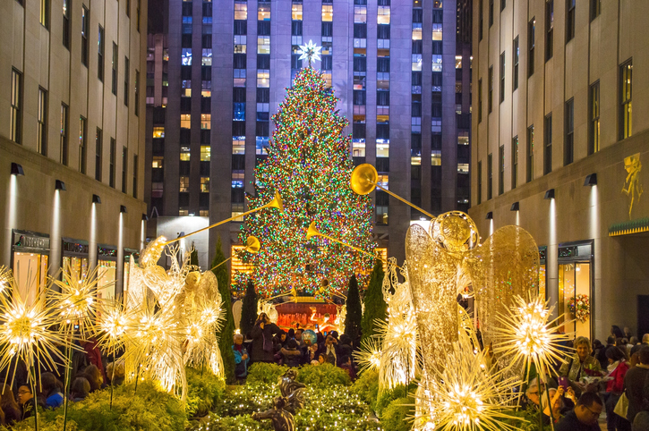 New York, NY, USA - December 5, 2013:Rockefeller Center all decorated surrounding the newly lit Christmas tree on December 5, 2013.