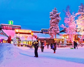 Rovaniemi, Finland - January 3, 2013: Santa Claus office in Rovaniemi that is in Finland in Lapland on the Arctic pole circle
