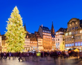 Christmas market in Strasbourg, France at night