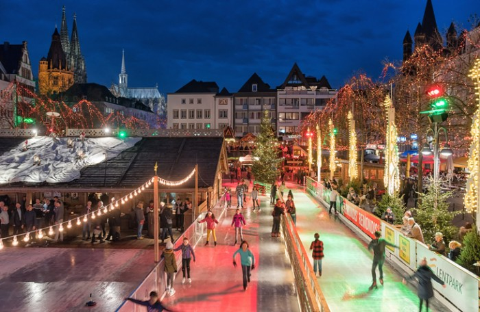 Cologne, Germany - December 17, 2015: Christmas market in historic center of Cologne. Many people visit the traditionell christmas market.