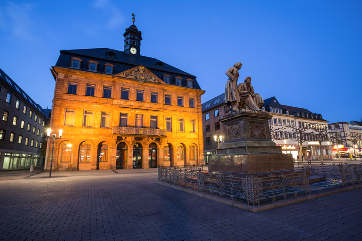 hanau germany townhall in the evening