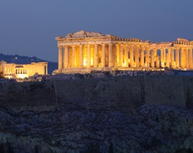 Parthenon on Acropolis Hill during blue hour