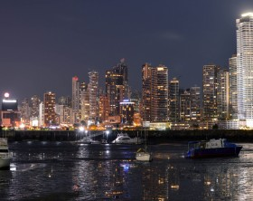 Panama City, Panama - August 29, 2015: Panama city skyline is seen at night on August 29, 2015 in Panama, Central America.