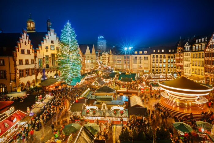 Traditional christmas market in the historic center of Frankfurt, Germany