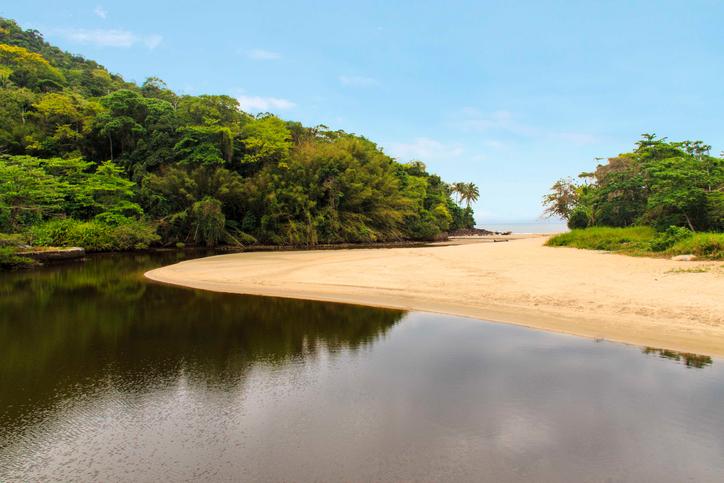 Sahy river view meeting the ocean at Barra do Sahy beach - Sao Sebastiao - Sao Paulo - Brazil