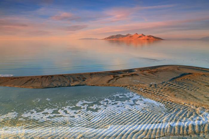 Colorful sunset at the Great Salt Lake, Utah, USA.