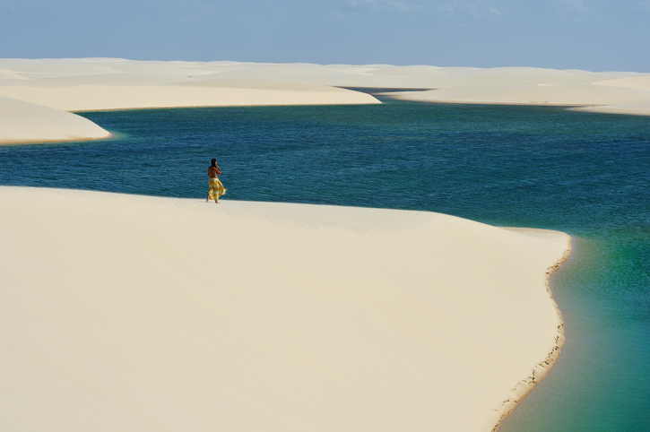 Lencois, Maranhao, Brazil - August 21, 2010: Lenco—is Maranhenses National Park, located in northeastern Brazil, low, flat, occasionally flooded land, overlaid with large, discrete sand dunes with blue and green lagoons