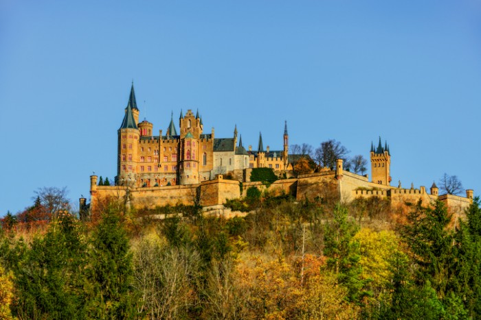 Hechingen, Germany - October 27, 2013:  Hohenzollern Castle sits atop of mount Hohenzollern, just 31 miles south of the German city of Stuttgart, in Baden-Wurttemberg.  It was the home of the Hohenzollern family which came to become German Emperors.