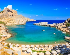 Beautiful cove at St Pauls Bay Lindos Rhodes Greece Europe