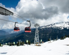 Whistler, BC, Canada - May 24, 2015:  Peak 2 Peak Gondola connecting Whistler and Blackcomb Mountains.
