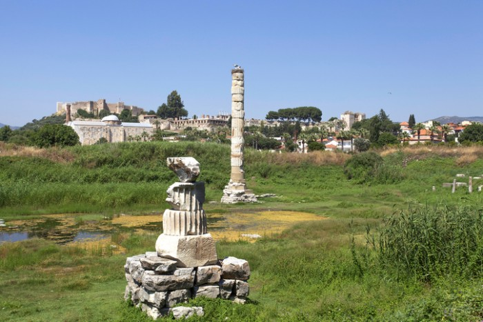 Ruins of Temple of Artemis at Ephesus, the ancient town located in Turkey.