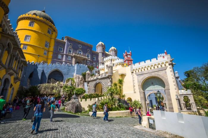 Sintra, Portugal - April 13, 2015: The Pena Castle in Sintra, Por